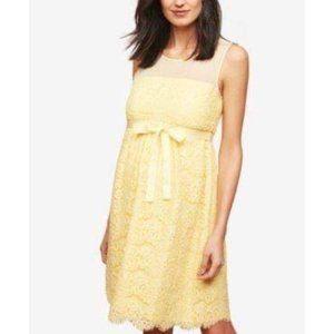 Motherhood Maternity Yellow Lace Sleeveless Dress